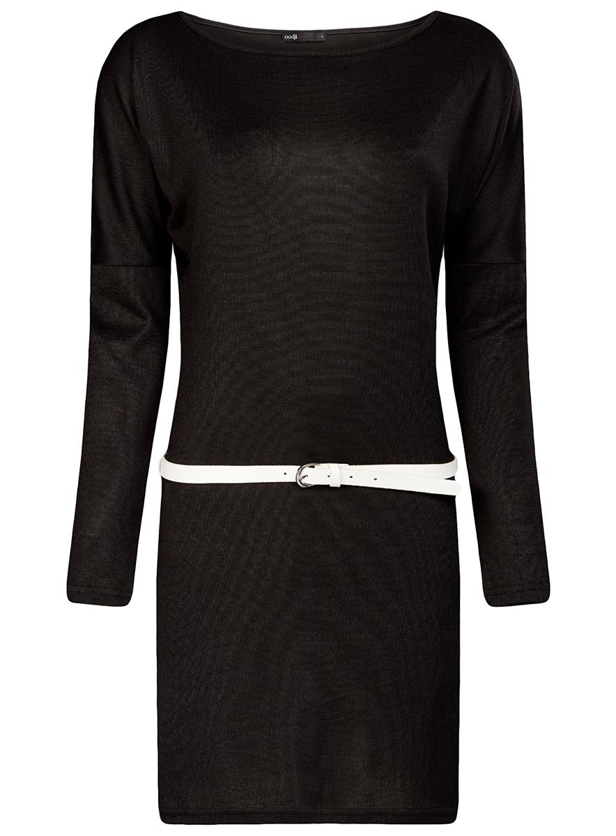 Платье14008010/15640/2900NСтильное платье oodji Ultra, выполненное из полиэстера с добавлением полиуретана, отлично дополнит ваш гардероб. Модель-миди приталенного силуэта имеет круглый вырез горловины и длинные рукава. В комплект входит ремешок из искусственной кожи с металлической пряжкой.