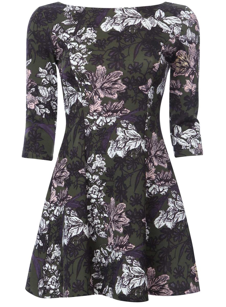 14001150-3/33038/254BFСтильное платье oodji Ultra, выполненное из качественного полиэстера с небольшим добавлением эластана, отлично дополнит ваш гардероб. Модель-мини с круглым вырезом горловины и стандартными рукавами 3/4 оформлена оригинальным цветочным принтом.