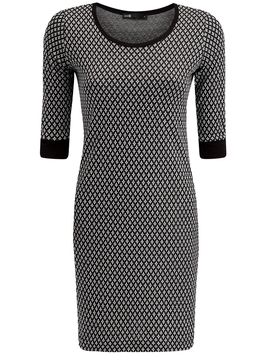 Платье14001064-6/35468/2912JПлатье oodji Ultra выполнено из полиэстера с добавлением эластана. Модель с круглым вырезом горловины и рукавами 3/4 оформлена оригинальным принтом.