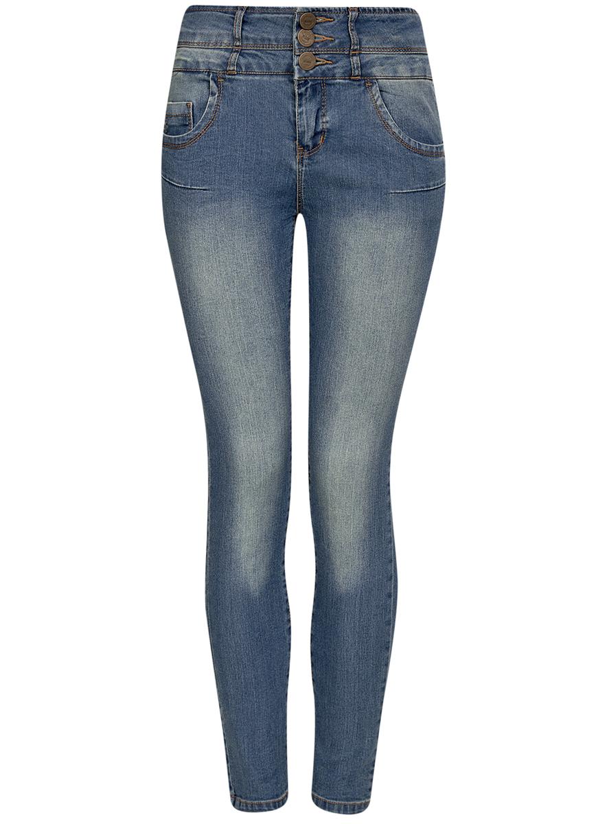 12104053-1/18831/7500WСтильные женские джинсы oodji Denim выполнены из хлопка с добавлением полиэстера и полиуретана. Материал мягкий и приятный на ощупь, не сковывает движения и позволяет коже дышать. Джинсы-скинни с высокой посадкой застегиваются на три пуговицы в поясе и ширинку на застежке-молнии. На поясе предусмотрены шлевки для ремня. Спереди модель дополнена двумя втачными карманами и одним накладным кармашком, сзади - двумя накладными карманами. Модель оформлена контрастной прострочкой.