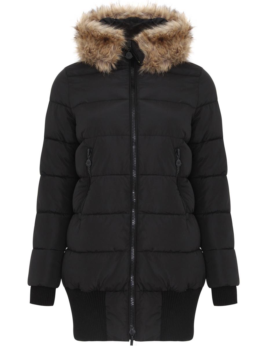 Пальто11C03002/43718/2900NЖенское пальто oodji Ultra выполнено из 100% полиэстера. В качестве подкладки и утеплителя также используется полиэстер. Модель с несъемным капюшоном застегивается на застежку-молнию с двумя бегунками и имеет внутреннюю ветрозащитную планку. Капюшон оформлен искусственным мехом. Низ рукавов дополнен внутренними эластичными манжетами, а низ изделия эластичными вставками. Спереди расположено два прорезных кармана на застежке-молнии.