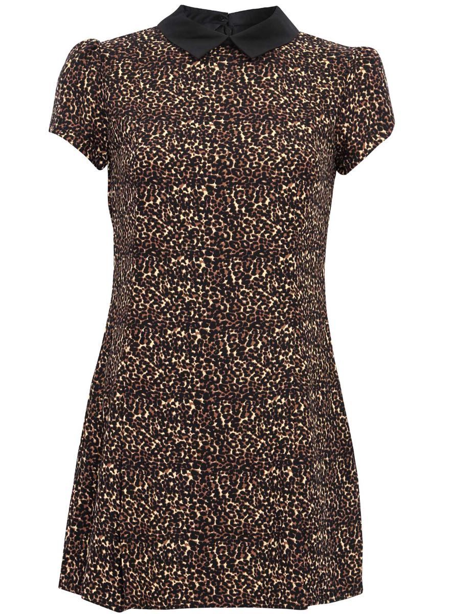 Платье11902153-1/45079/3329AМодное платье oodji Ultra станет отличным дополнением к вашему гардеробу. Модель выполнена из качественного материала, на подкладке из полиэстера. Платье-мини с отложным воротником и короткими рукавами-фонариками застегивается сзади по спинке на застежку-молнию и пуговицу. Оформлено платье стильным леопардовым принтом.