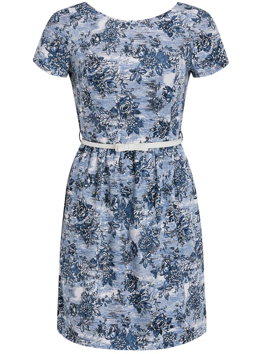 Платье11902070-5/33587/1079FСтильное платье oodji Ultra выполнено из натурального хлопка. Модель с круглым вырезом горловины и короткими рукавами сзади застегивается на застежку- молнию. По бокам платье дополнено втачными карманами. Оформлено изделие цветочным принтом. В комплект входит ремень из искусственной кожи с металлической пряжкой.