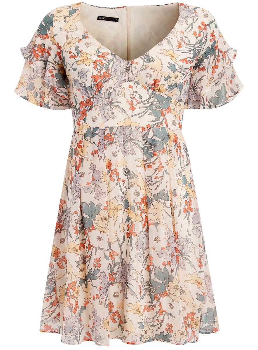 Платье11900204M/38375/4019FПлатье oodji Ultra с рукавами-крылышками исполнено из воздушной ткани. Имеет V-образный воротник, застегивается сзади на молнию.