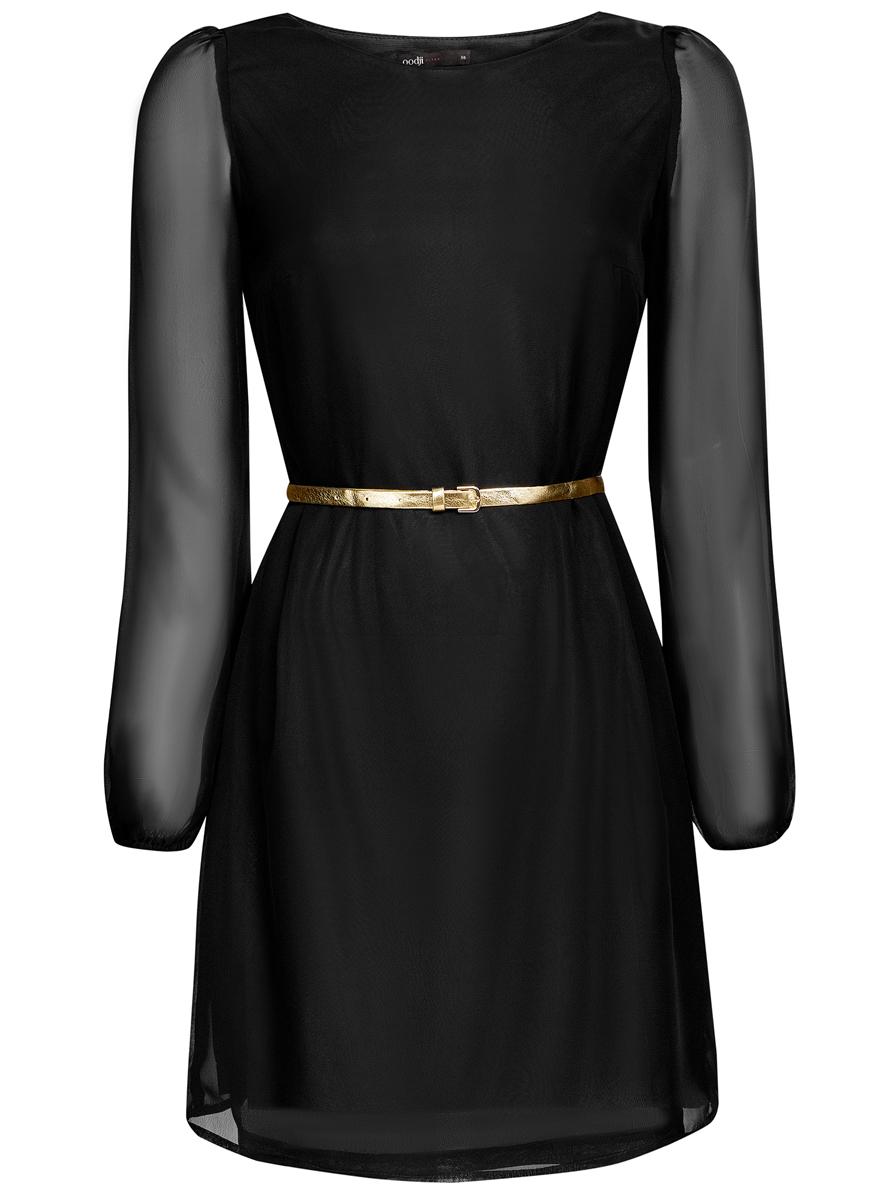 Платье11900150-5/13632/2900NСтильное платье oodji Ultra, выполненное из качественного полиэстера, на подкладке также из полиэстера, отлично дополнит ваш гардероб. Модель-миди с круглым вырезом горловины и стандартными длинными рукавами оформлено в лаконичном стиле. Ремешок в комплект не входит.