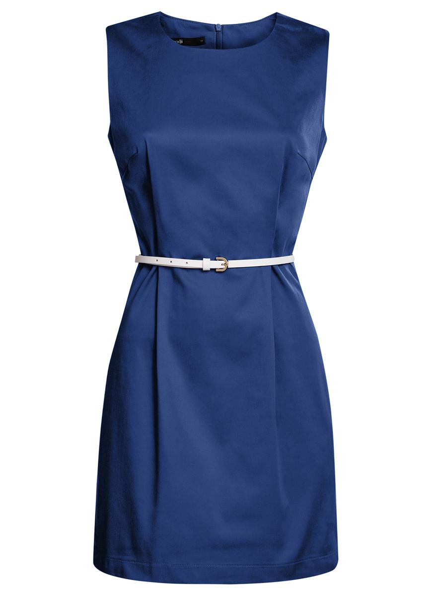 11900128-1/42542/7500NСтильное платье oodji Ultra, выполненное из эластичного хлопка, отлично дополнит ваш гардероб. Модель-миди с круглым вырезом горловины и без рукавов застегивается сзади по спинке на застежку-молнию. Выполнено платье в лаконичном стиле. В комплект входит ремешок из искусственной кожи.