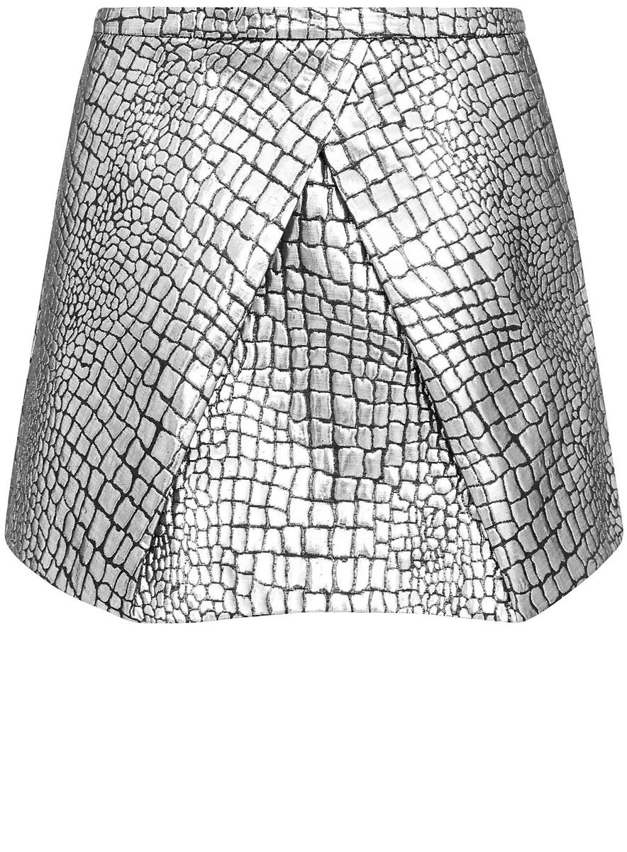 11600367-1/38597/2991AЮбка oodji Ultra выполнена из полиэстера c добавлением хлопка, оформлена блестящим фактурным принтом под рептилию. Модель длины мини, декорирована складками, дополнена подкладкой, потайной застежкой-молнией сзади и прорезными карманами по боковым сторонам.