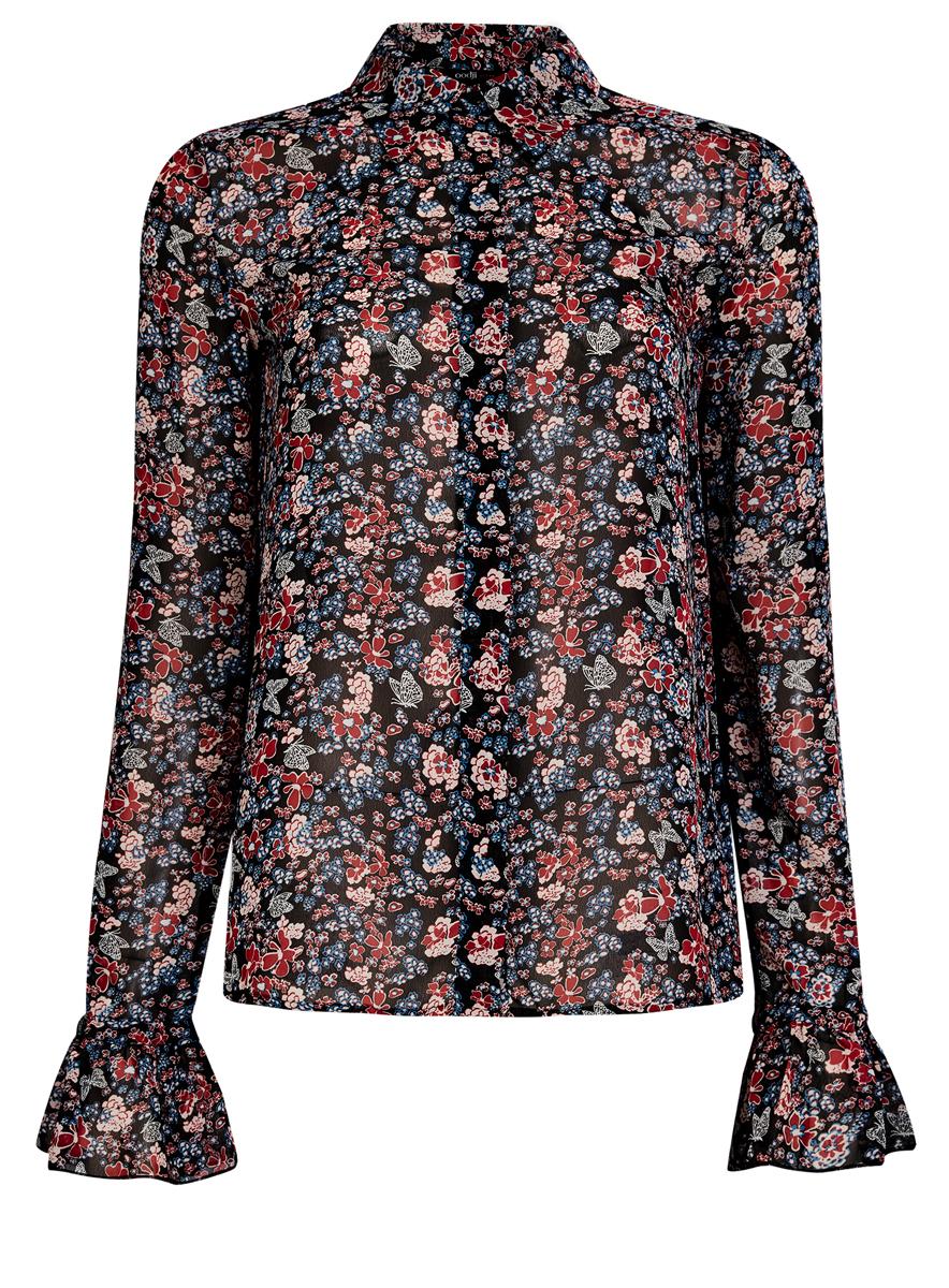 Блузка11411119/17288/294AFМодная женская блузка oodji Ultra изготовлена из 100% полиэстера. Модель с отложным воротником и длинными рукавами застегивается на пуговицы. Понизу рукава дополнены оборками. Оформлена модель оригинальным принтом. Спинка изделия однотонная.