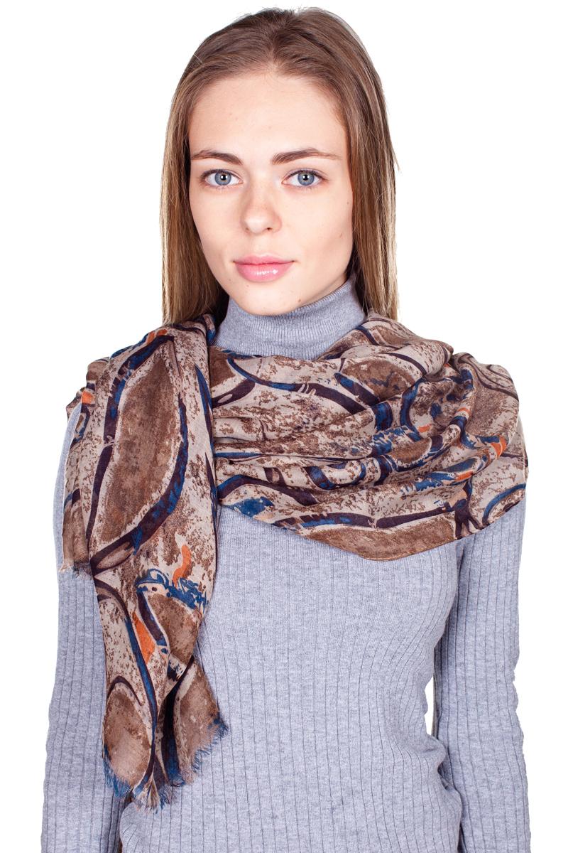 YY-21664-1Стильный женский палантин Sophie Ramage станет великолепным завершением любого наряда. Палантин изготовлен из модала с добавлением шерсти и оформлен оригинальным принтом. По краю модель украшена неширокой бахромой. Изящный палантин поможет вам создать изысканный женственный образ, а также согреет в непогоду.