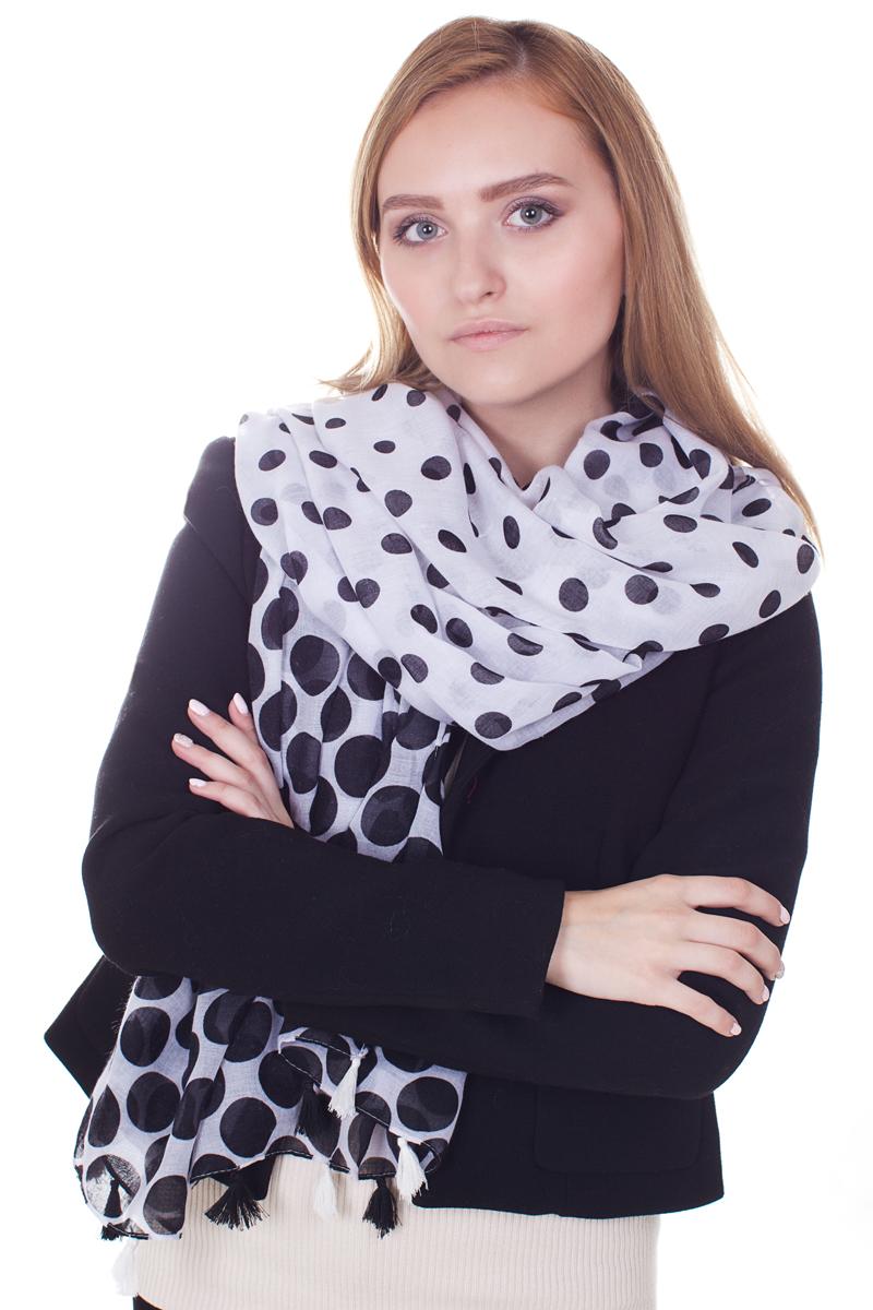 ПалантинYY-21682-4Стильный женский палантин Sophie Ramage станет великолепным завершением любого наряда. Палантин изготовлен из модала с добавлением шерсти и оформлен гороховым принтом. Изящный палантин поможет вам создать изысканный женственный образ, а также согреет в непогоду.