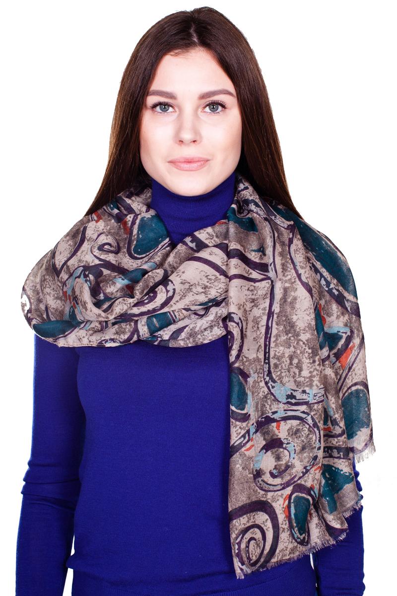 ПалантинYY-21664-2Стильный женский палантин Sophie Ramage станет великолепным завершением любого наряда. Палантин изготовлен из модала и шерсти, и оформлен нежным принтом. По краям модель дополнена неширокой бахромой. Изящный палантин поможет вам создать изысканный женственный образ, а также согреет в непогоду.