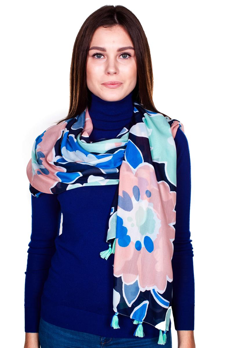 YY-21644-11Стильный женский палантин Sophie Ramage станет великолепным завершением любого наряда. Палантин изготовлен из модала с добавлением шелка и оформлен ярким цветочным принтом. По краям модель дополнена кистями бахромы. Изящный палантин поможет вам создать изысканный женственный образ, а также согреет в непогоду.