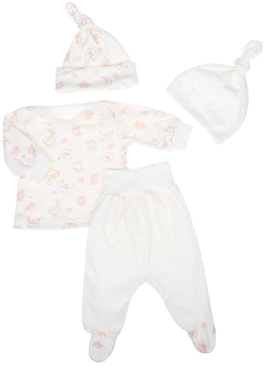 Комплект одежды33к-5236Очаровательный комплект для девочки Клякса, состоящий из футболки с длинными рукавами, ползунков и двух шапочек, идеально подойдет вашей малышке. Изготовленный из натурального хлопка, он необычайно мягкий и приятный на ощупь, не сковывает движения ребенка и позволяет коже дышать, не раздражает даже самую нежную и чувствительную кожу, обеспечивая наибольший комфорт. Футболка с длинными рукавами и круглым вырезом горловины дополнена трикотажными манжетами. Ползунки имеют широкий эластичный пояс, не сдавливающий животик ребенка. Одна из шапочек оформлена декоративным отворотом, другая - трикотажной резинкой. Комплект оформлен оригинальным принтом.