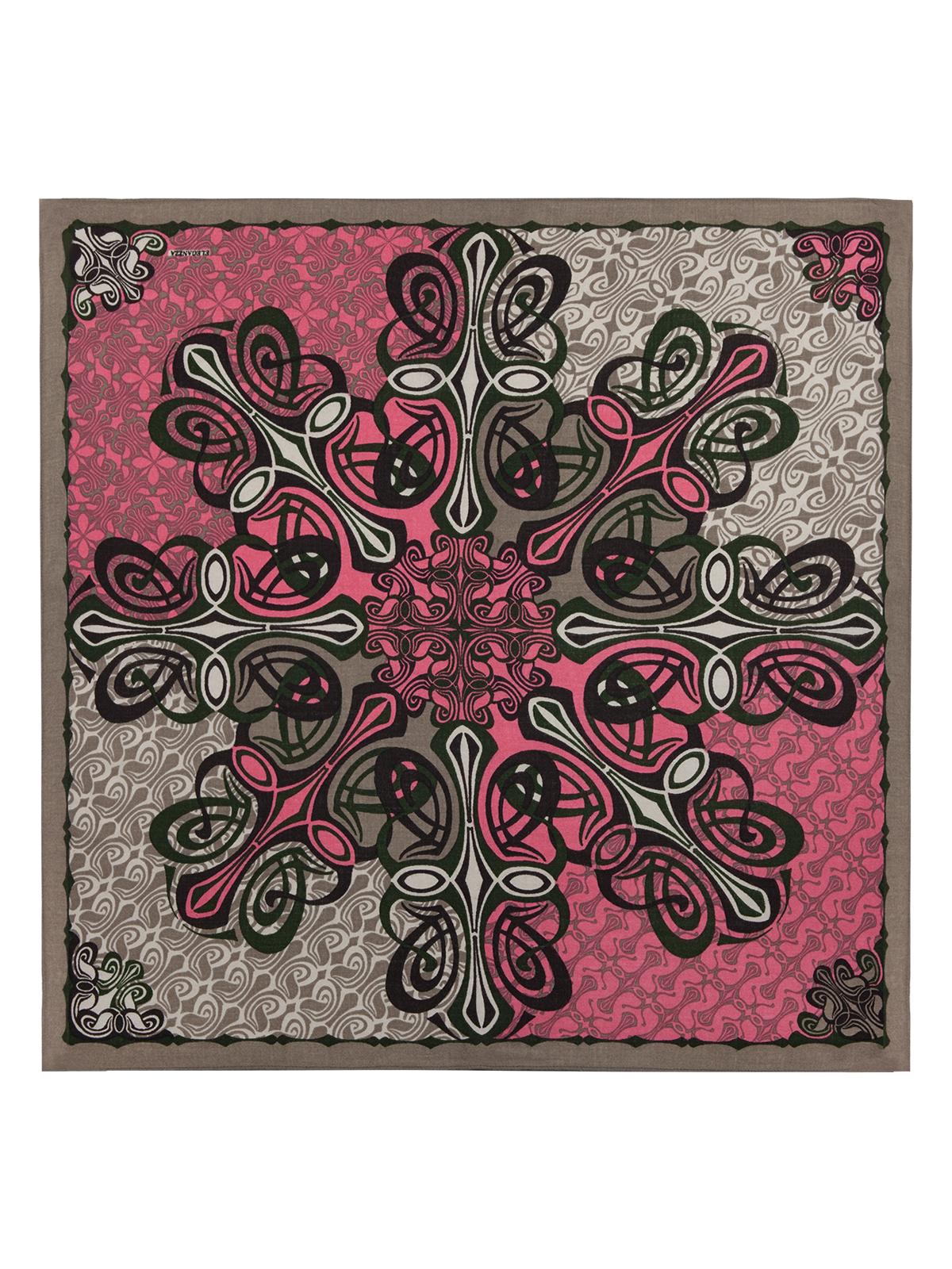 ПлатокS42-0773Платок от Eleganzza изготовлен из шерсти с добавлением кашемира и оформлен ярким принтом. Края изделия декорированы бахромой.