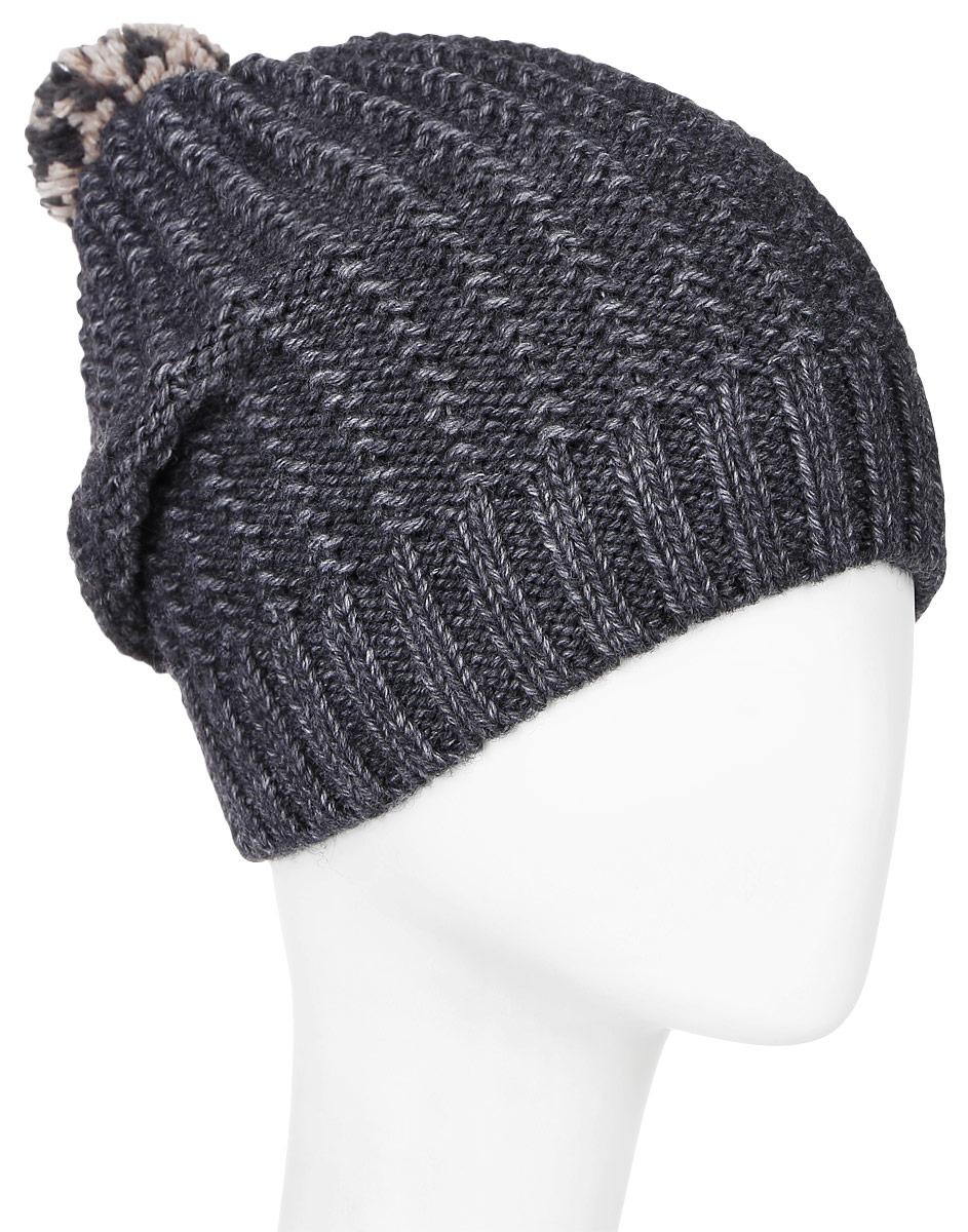 MBH6805/2Детская шапка Marhatter выполнена из шерсти и акрила, подкладка - из полиэстера. Вязаная модель декорирована нашивкой в виде логотипа бренда и дополнена небольшим помпоном. Низ изделия оформлен вязаной резинкой. Уважаемые клиенты! Размер, доступный для заказа, является обхватом головы.