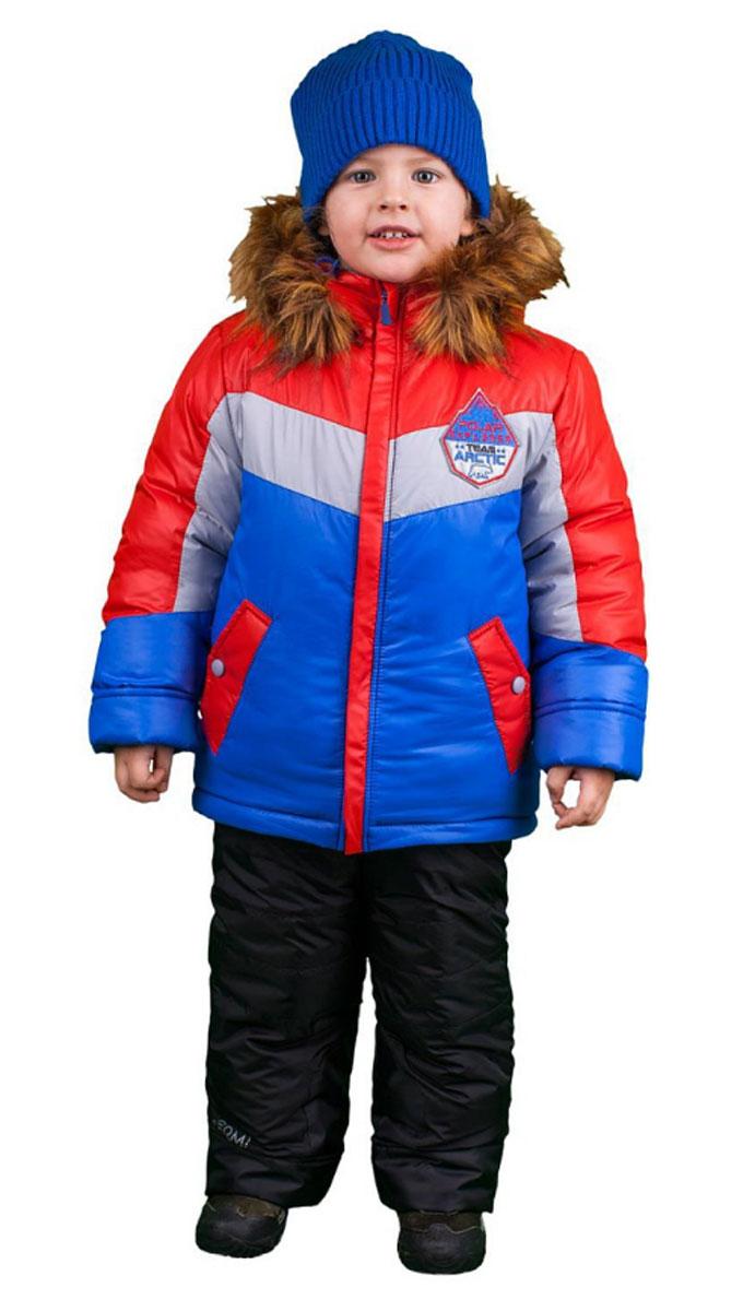 64361_BOB_вар.1Комплект для мальчика Boom! состоит из куртки и полукомбинезона. Комплект выполнен из водонепроницаемой и ветрозащитной ткани. Комбинированная подкладка, изготовленная из полиэстера и вискозы, содержит мягкие флисовые и гладкие вставки. В качестве утеплителя используется легкий гипоаллергенный материал - эко- синтепон. Изделие легко стирается, быстро сушится, приятно носится. Куртка с несъемным капюшоном застегивается на пластиковую молнию с защитой подбородка и двумя ветрозащитными планками. Подкладка курточки (кроме рукавов) выполнена из мягкого теплого флиса. Капюшон декорирован съемной опушкой из искусственного меха. На рукавах имеются трикотажные манжеты. По краю куртки предусмотрена скрытая резинка со стопперами. Спереди расположены два втачных кармана с клапанами на кнопках. Модель оформлена крупным принтом на спинке, украшена на груди нашивкой. Полукомбинезон застегивается на пластиковую молнию с ветрозащитной планкой. Изделие дополнено съемными эластичными...