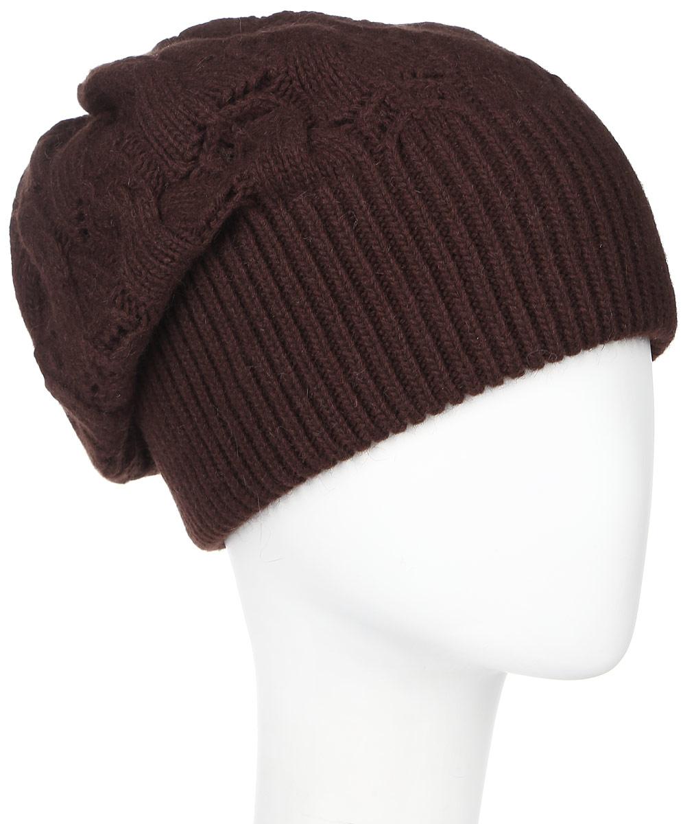 Шапка261858L-61Женская шапка Vittorio Richi выполнена из сочетания шерсти, ангоры и полиамида. Оформлена модель объемной ажурной вязкой. Уважаемые клиенты! Размер, доступный для заказа, является обхватом головы.