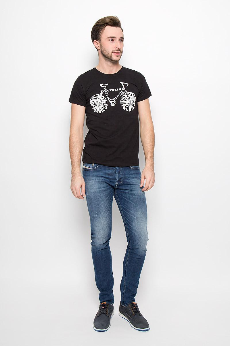 ФутболкаFS-001_ВелоМужская футболка Frutto Rosso Вело выполнена из натурального хлопка. Модель с короткими рукавами имеет круглый вырез горловины, дополненный трикотажной резинкой. Изделие оформлено термоаппликацией.