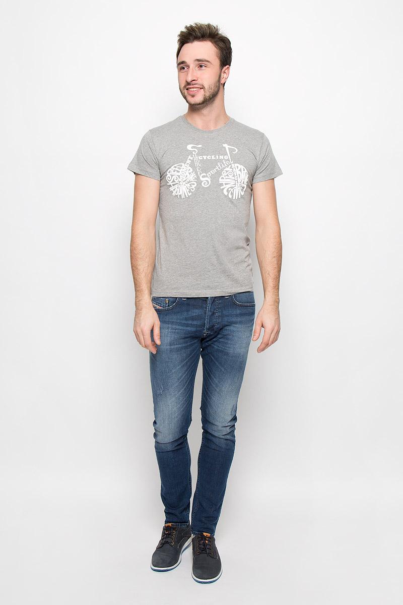 FS-001_ВелоМужская футболка Frutto Rosso Вело выполнена из натурального хлопка. Модель с короткими рукавами имеет круглый вырез горловины, дополненный трикотажной резинкой. Изделие оформлено термоаппликацией.