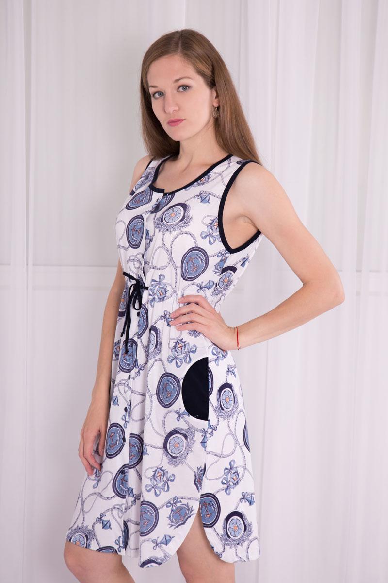 Платье домашнее7117110102Платье-халат Violett выполнен из натурального хлопка. Платье с круглым вырезом горловины застегивается на пуговицы по всей длине. Спереди расположены два кармана. Модель оформлена принтом в морском стиле. Под грудью изделие оснащено затягивающимся шнурком.