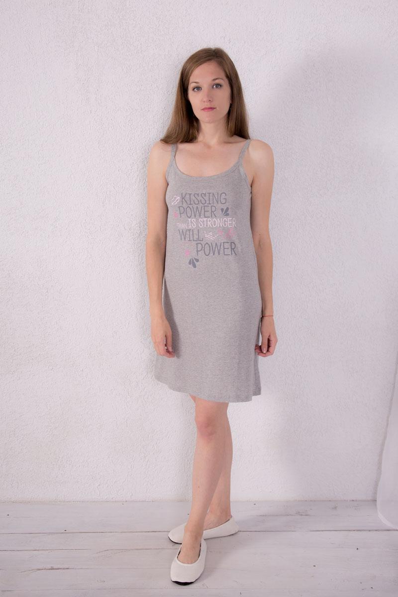 7117110303Платье домашнее Violett изготовлено из натурального хлопка. Модель на бретельках оформлена надписями.