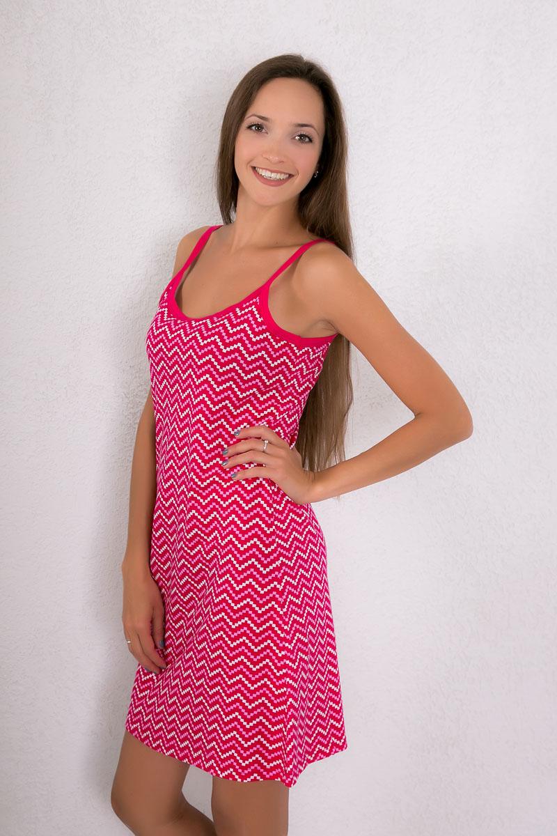 Платье домашнее7117110308Платье домашнее Violett изготовлено из натурального хлопка. Модель на бретельках оформлена оригинальным принтом.