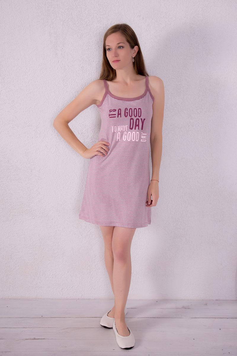 Платье домашнее7117110310Платье домашнее Violett изготовлено из натурального хлопка. Модель на бретельках оформлена принтом в полоску и надписями.