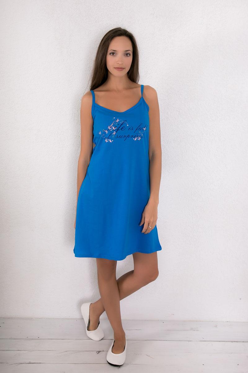 Платье домашнее7117110401Платье домашнее Violett изготовлено из натурального хлопка. Модель на бретельках оформлена интересным принтом.