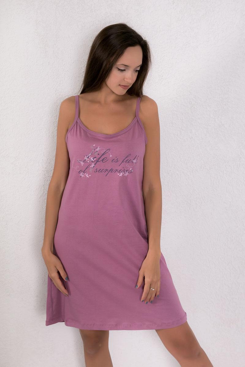 Платье домашнее7117110402Платье домашнее Violett изготовлено из натурального хлопка. Модель на бретельках оформлена интересным принтом.