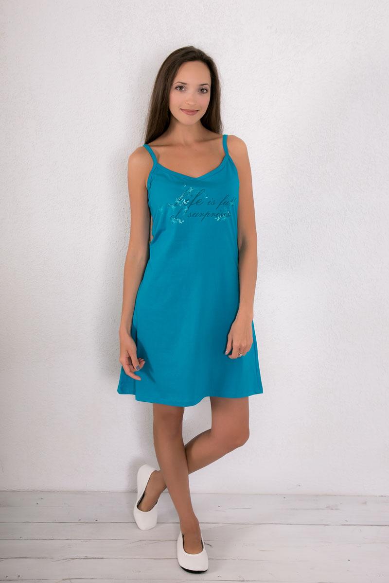 Платье домашнее7117110403Платье домашнее Violett изготовлено из натурального хлопка. Модель на бретельках оформлена принтом в в виде бабочек и надписями.