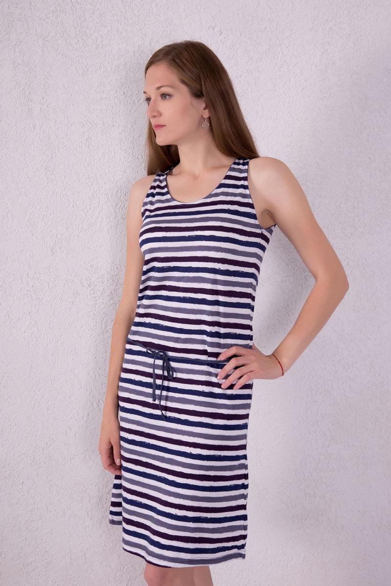 Платье домашнее7117110502Платье домашнее Violett изготовлено из натурального хлопка. Модель с круглым вырезом горловины, оформлена принтом в виде полосок и дополнена эластичным поясом.