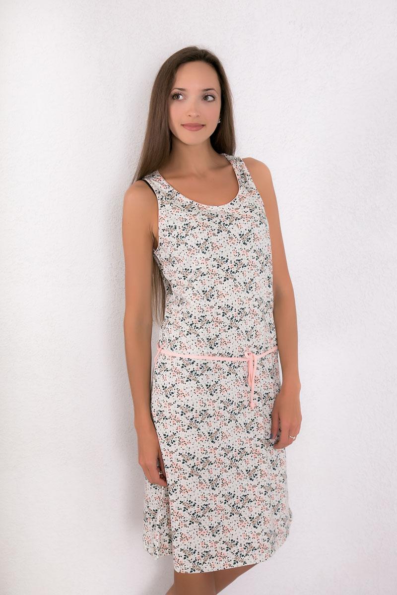 Платье домашнее7117110521Платье домашнее Violett изготовлено из натурального хлопка. Модель с круглым вырезом горловины, оформлена цветочным принтом и дополнена эластичным поясом.