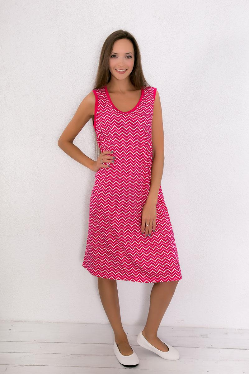 Платье домашнее7117110601Домашнее платье Violett выполнено из натурального хлопка. Платье-миди с V-образным вырезом горловины и без рукавов оформлено оригинальным принтом.