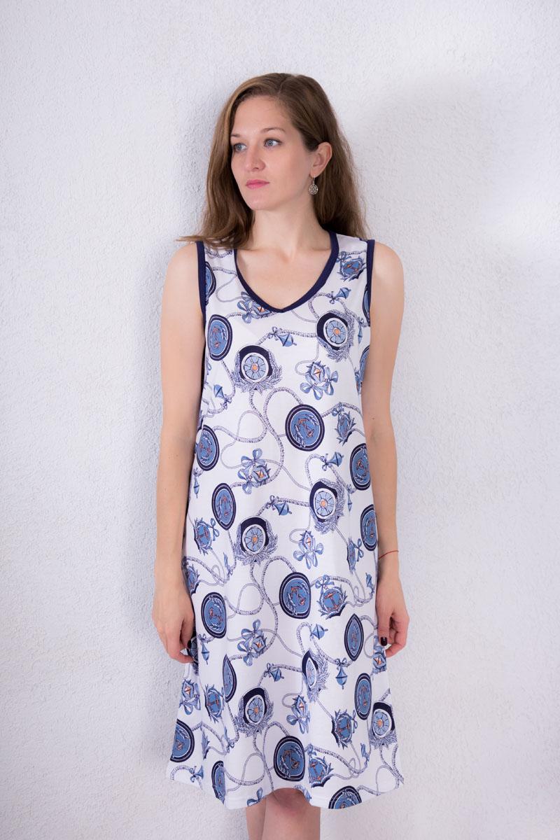 Платье домашнее7117110602Домашнее платье Violett выполнено из натурального хлопка. Платье-миди с V-образным вырезом горловины и без рукавов оформлено оригинальным принтом.