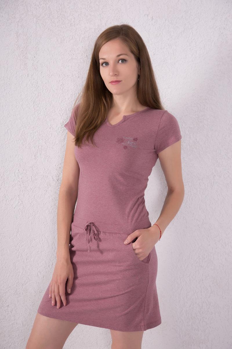 Платье домашнее7117110702Платье домашнее Violett выполнено из натурального хлопка. Платье с фигурным вырезом горловины и короткими рукавами. Спереди расположены два кармана. Модель оформлена надписями и цветочным принтом. На талии изделие оснащено затягивающимся шнурком.
