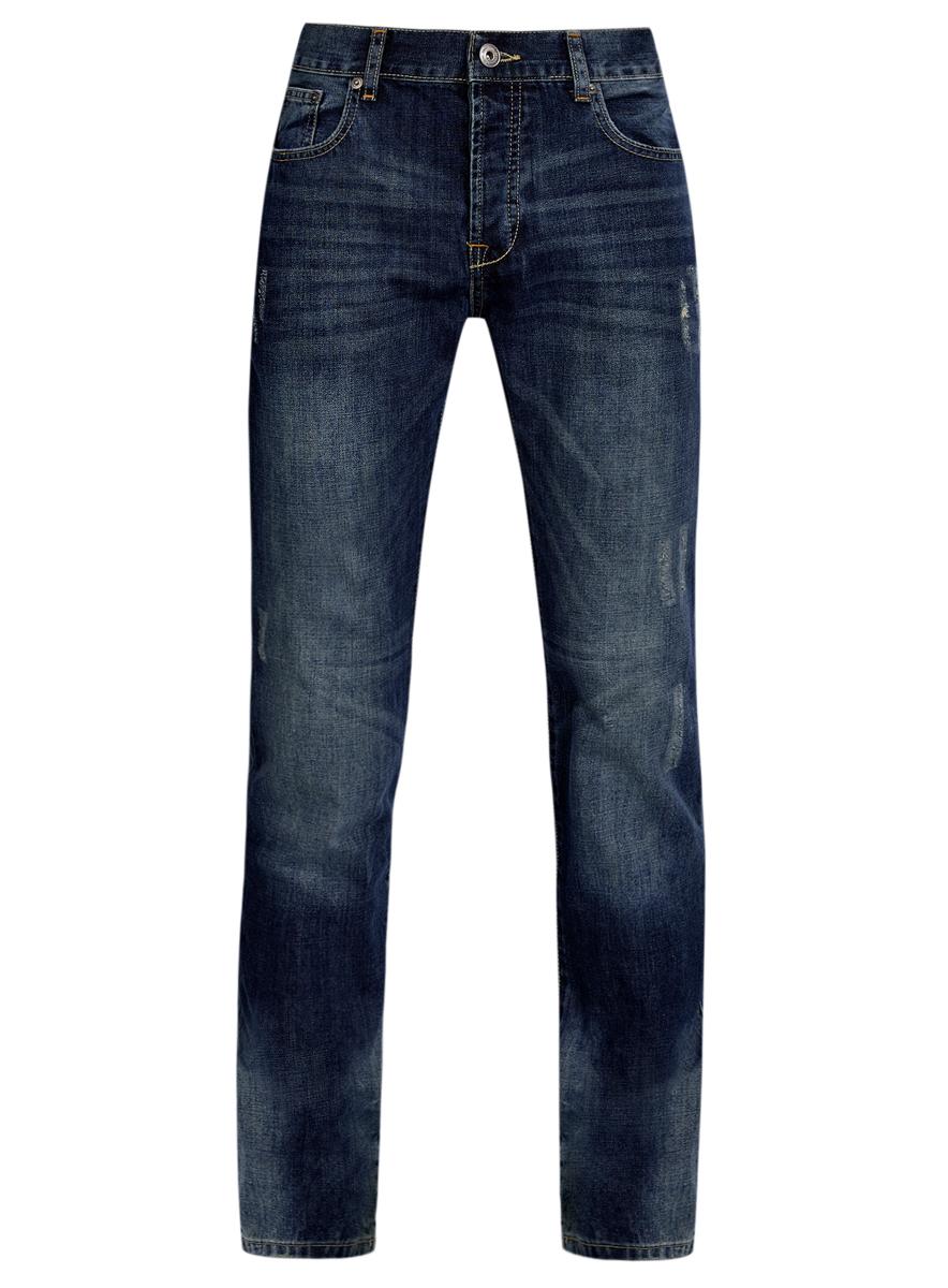 Джинсы6L130047M/35771/7500WМужские джинсы oodji выполнены из высококачественного натурального хлопка. Джинсы прямого кроя и стандартной посадки застегиваются на пуговицу в поясе и ширинку на пуговицах, дополнены шлевками для ремня. Джинсы имеют классический пятикарманный крой: спереди модель дополнена двумя втачными карманами и одним маленьким накладным кармашком, а сзади - двумя накладными карманами. Джинсы украшены декоративными потертостями и перманентными складками.