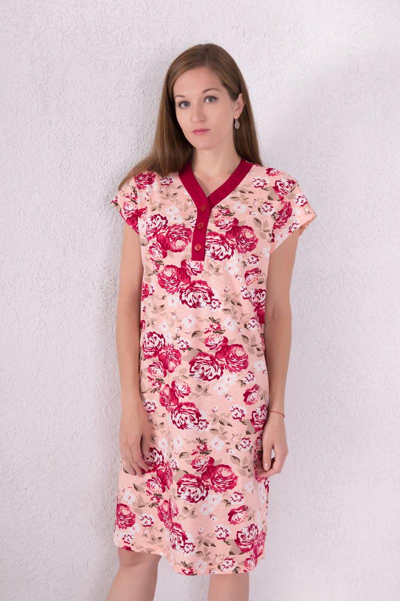 Платье домашнее7117110804Домашнее платье Violett выполнено из натурального хлопка. Платье-миди с V-образным вырезом горловины и короткими рукавами застегивается спереди на три пуговицы. Оформлено изделие цветочным принтом.