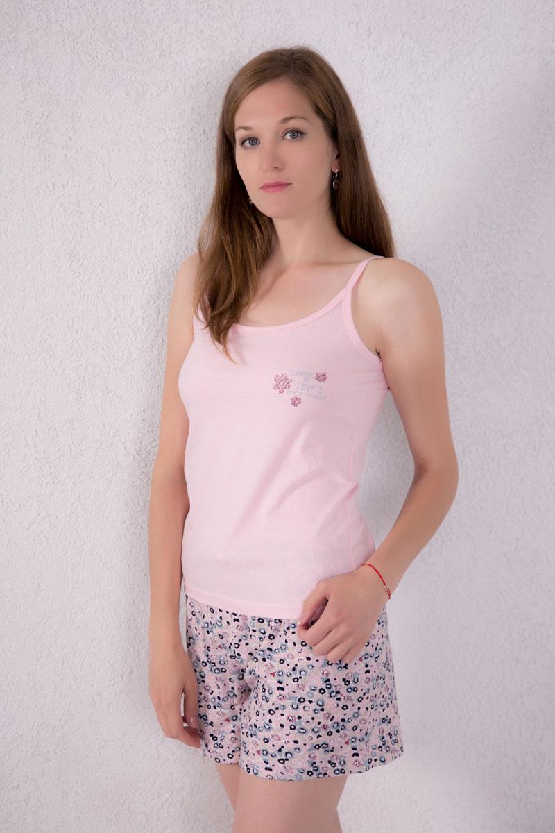Домашний комплект7117130101Женский домашний комплект одежды Violett, состоящий из майки и шорт, изготовлен из натурального хлопка. Майка с круглым вырезом горловины и нерегулируемыми бретелями оформлена спереди надписями и изображением цветом. Шорты, оформленные цветочным принтом, имеют эластичный пояс на талии и дополнены затягивающимся шнурком.