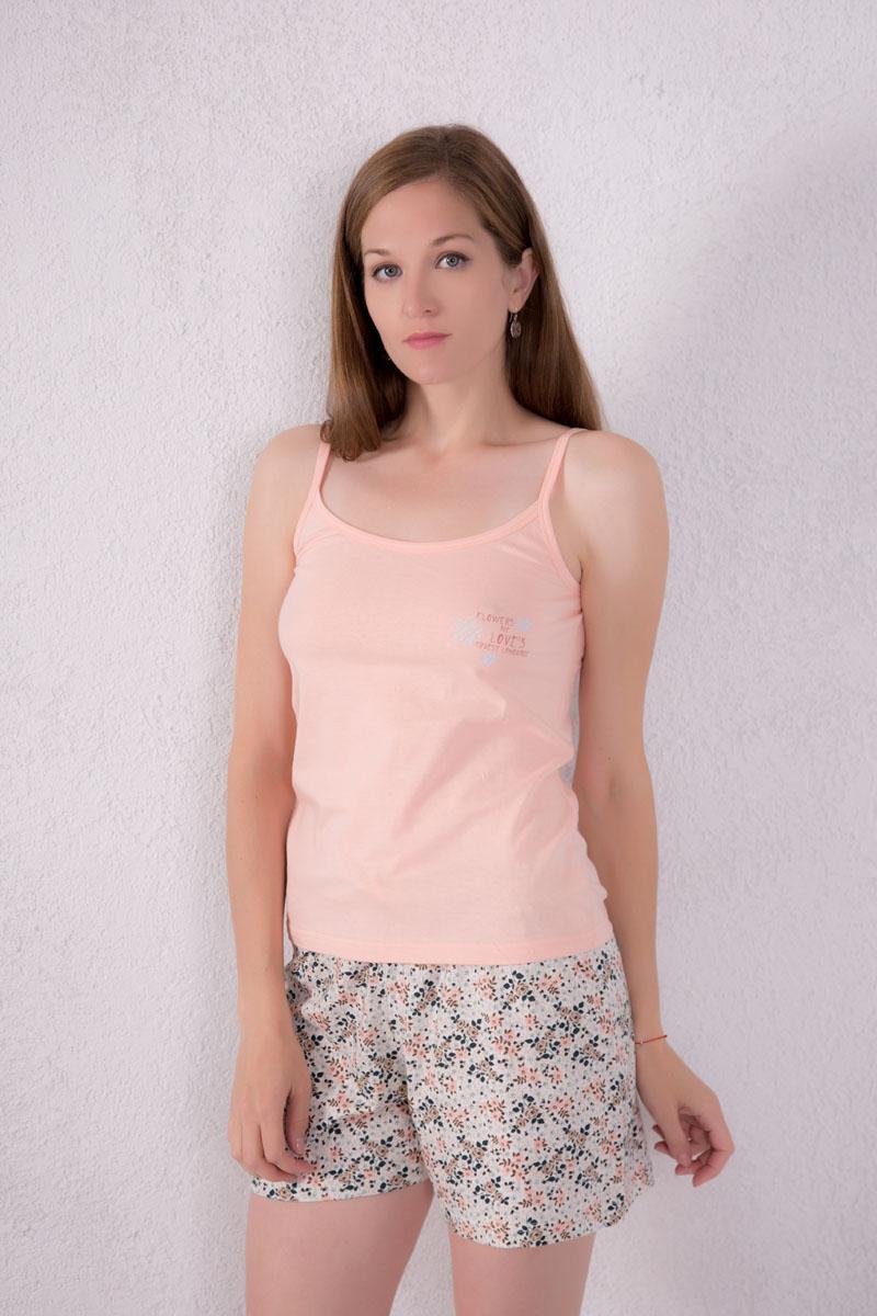 7117130101Женский домашний комплект одежды Violett, состоящий из майки и шорт, изготовлен из натурального хлопка. Майка с круглым вырезом горловины и нерегулируемыми бретелями оформлена спереди надписями и изображением цветом. Шорты, оформленные цветочным принтом, имеют эластичный пояс на талии и дополнены затягивающимся шнурком.