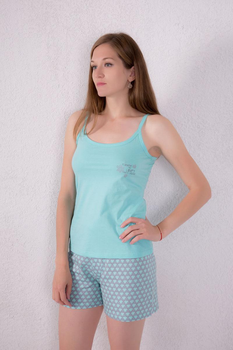 Домашний комплект7117130103Женский домашний комплект одежды Violett, состоящий из майки и шорт, изготовлен из натурального хлопка. Майка с круглым вырезом горловины и нерегулируемыми бретелями оформлена спереди надписями и изображением цветом. Шорты, оформленные оригинальным принтом, имеют эластичный пояс на талии и дополнены затягивающимся шнурком.