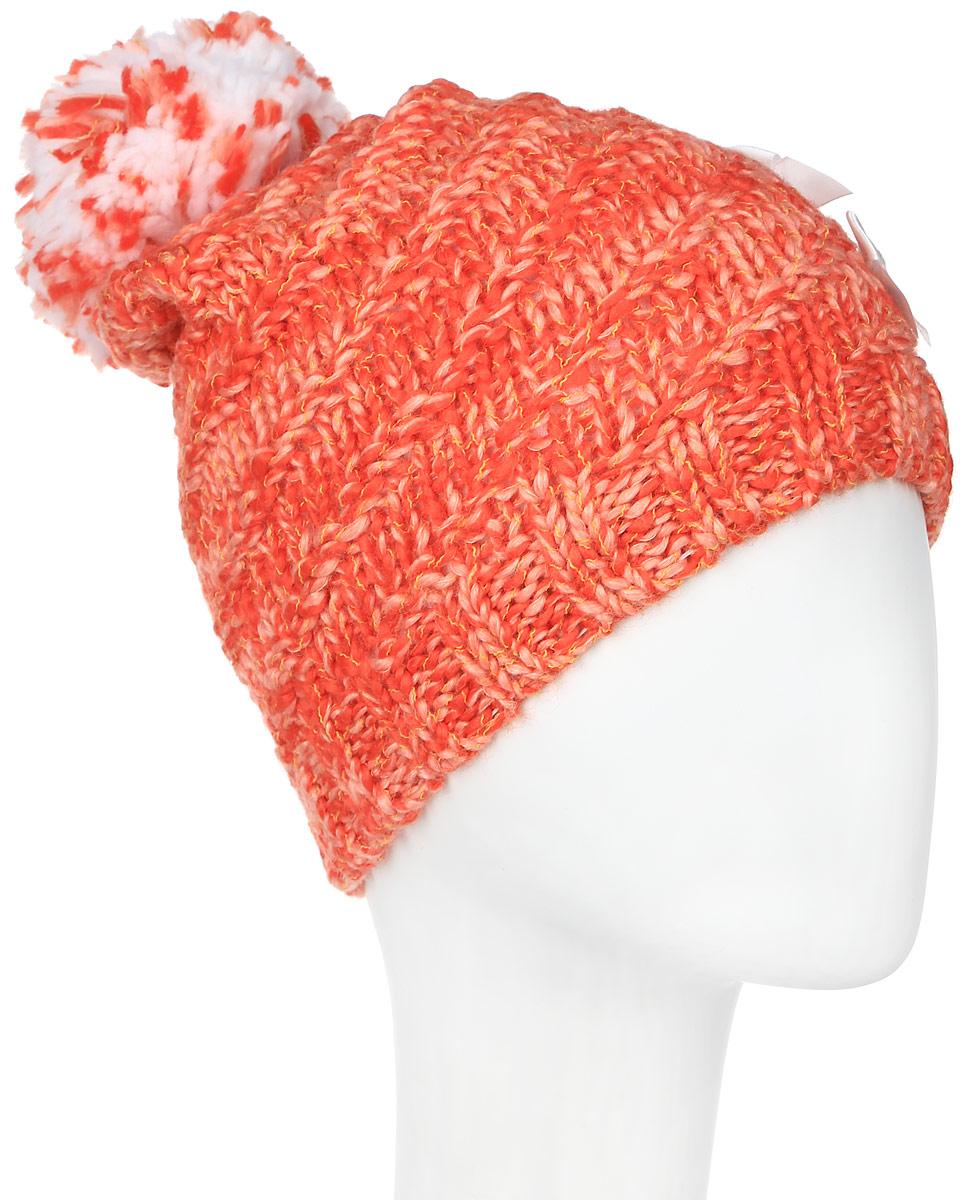 ШапкаMGH5041/2Детская шапка Marhatter выполнена из шерсти и акрила, подкладка - из полиэстера. Вязаная модель дополнена помпоном и декорирована аппликацией из бантов со стразами. По низу изделие оформлено вязаной резинкой. Уважаемые клиенты! Размер, доступный для заказа, является обхватом головы.