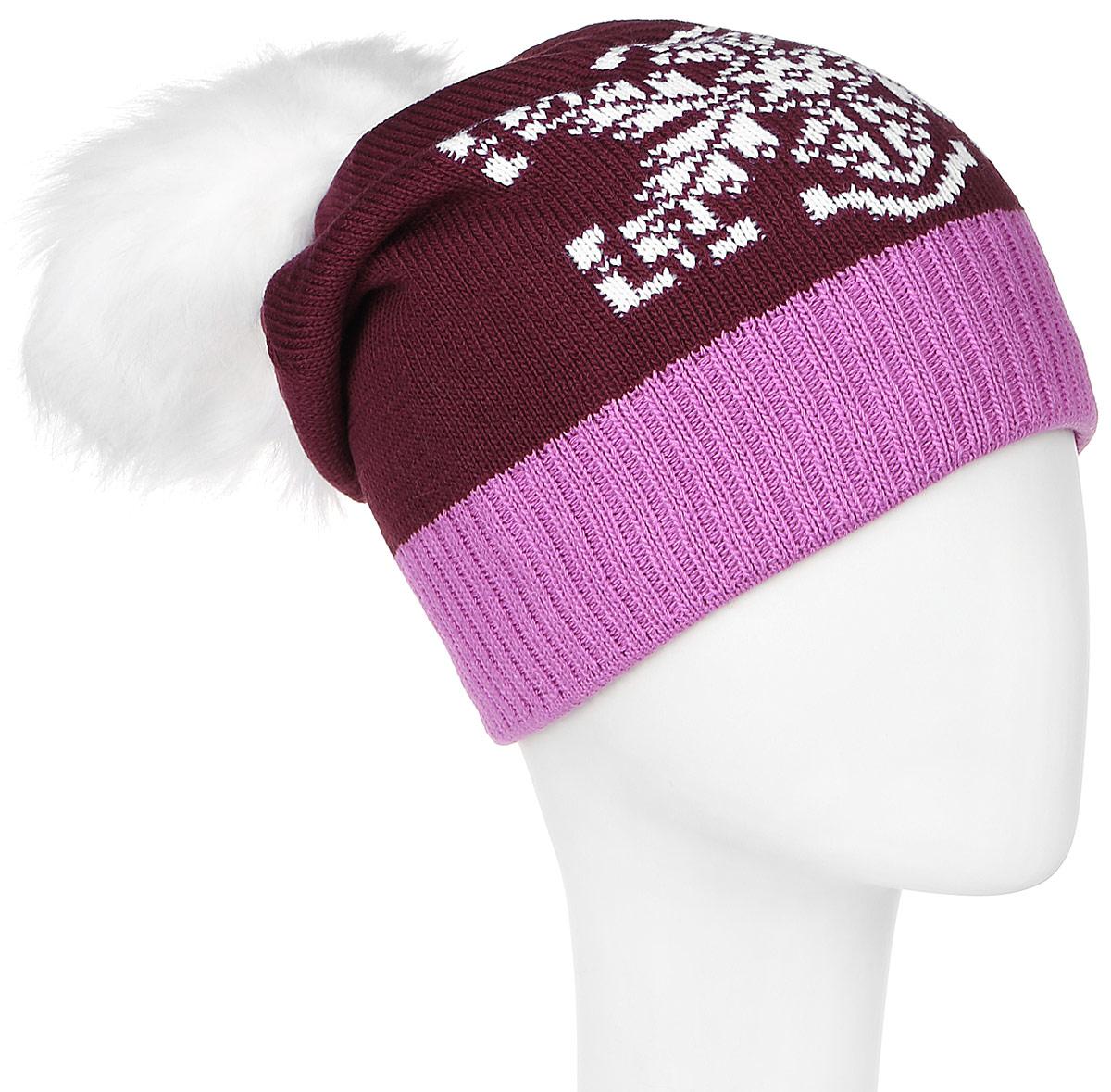 ШапкаRGH5312/1Детская шапка Elfrio выполнена из акрила, подкладка - из полиэстера. Модель мелкой вязки, украшена принтом в виде снежинки, дополнена помпоном из искусственного меха, низ изделия оформлен вязаной резинкой. Уважаемые клиенты! Размер, доступный для заказа, является обхватом головы.