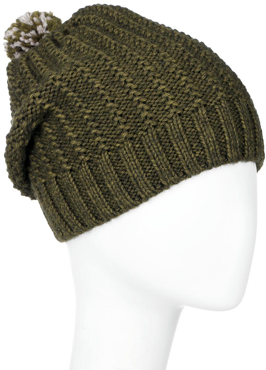 ШапкаMBH6805/2Детская шапка Marhatter выполнена из шерсти и акрила, подкладка - из полиэстера. Вязаная модель декорирована нашивкой в виде логотипа бренда и дополнена небольшим помпоном. Низ изделия оформлен вязаной резинкой. Уважаемые клиенты! Размер, доступный для заказа, является обхватом головы.