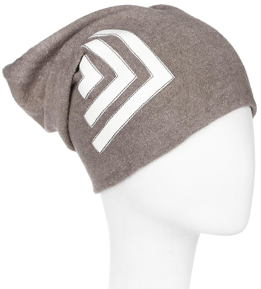 Шапка341728U-35Женская шапка Vittorio Richi выполнена из нейлона, вискозы и шерсти. Модель декорирована аппликацией из искусственной кожи в виде геометрических фигур. Уважаемые клиенты! Размер, доступный для заказа, является обхватом головы.