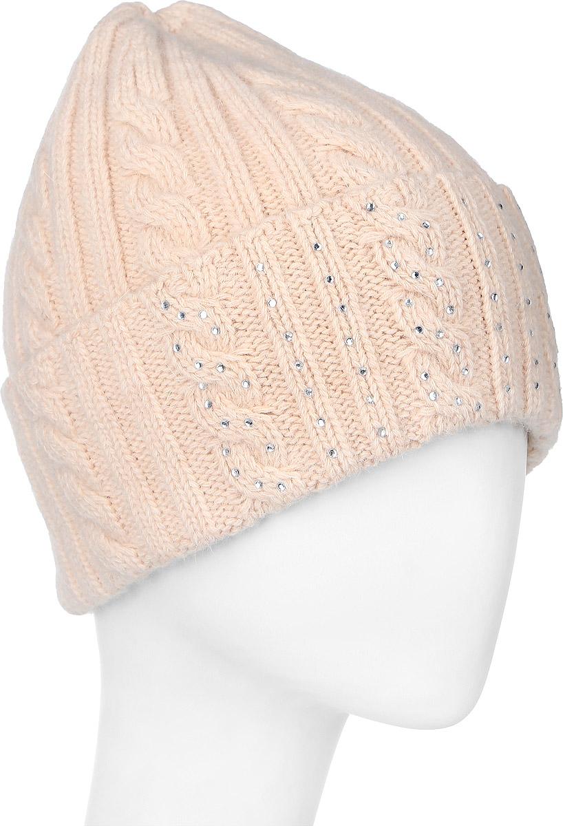 341922L-85Теплая женская шапка Vittorio Richi отлично дополнит ваш образ в холодную погоду. Шапка из шерсти, ангоры и полиамида сохраняет тепло и обеспечивает удобную посадку, невероятную легкость и мягкость. Шапка с большим отворотом выполнена вязкой с узорами и оформлена выкладкой из блестящих страз. Модель составит идеальный комплект с модной верхней одеждой, в ней вам будет уютно и тепло. Уважаемые клиенты! Размер, доступный для заказа, является обхватом головы.