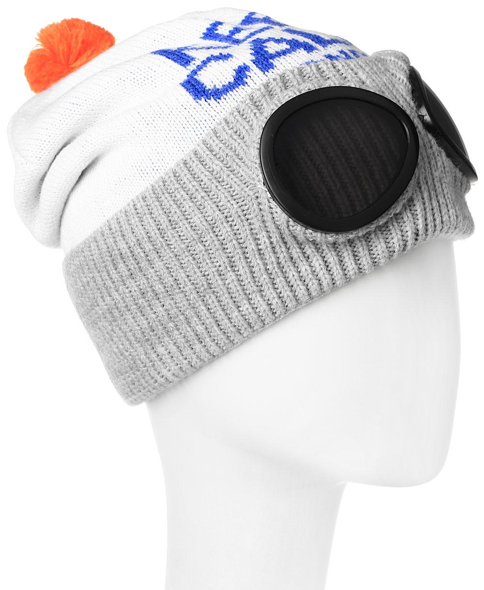 MYH6158/1Мужская шапка Marhatter выполнена из шерсти и акрила, подкладка - из полиэстера. Модель оформлена принтом в виде надписи. Изделие дополнено небольшим помпоном, по низу - подворотом, декорированным вставкой в виде очков. Уважаемые клиенты! Размер, доступный для заказа, является обхватом головы.