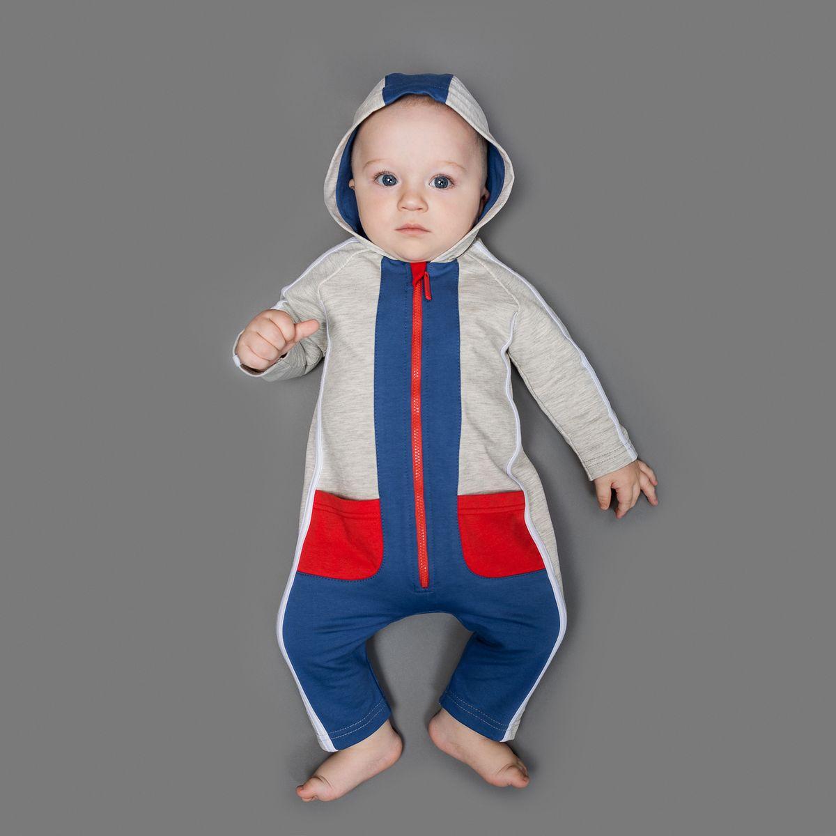 Комбинезон домашний22-520Комбинезон Ёмаё, изготовленный из футера - очень удобный и практичный вид одежды для малышей. Комбинезон с капюшоном и открытыми ножками застегивается спереди на пластиковую застежку-молнию, что помогает с легкостью переодеть ребенка. Спереди и сзади модель дополнена двумя накладными кармашками. Оформлено изделие контрастной отделкой. Комбинезон полностью соответствует особенностям жизни младенца в ранний период, не стесняя и не ограничивая его в движениях!