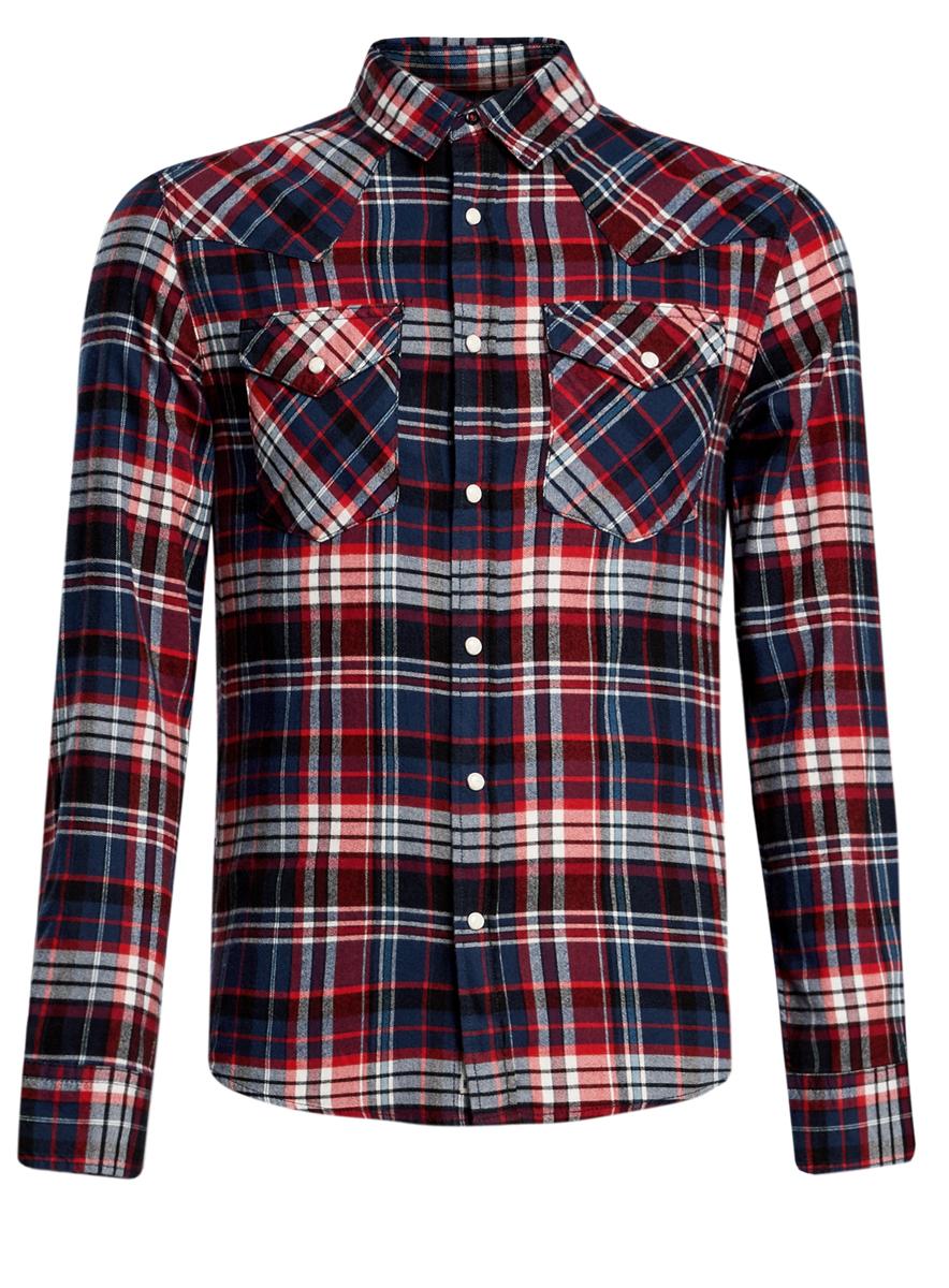 Рубашка3L310125M/44387N/4575CСтильная мужская рубашка oodji выполнена из высококачественного хлопка. Модель с отложным воротником и длинными рукавами застегивается на кнопки спереди. Манжеты рукавов дополнены застежками-пуговицами. Оформлена рубашка контрастным принтом в клетку и дополнена двумя нагрудными карманами с клапанами на кнопках.