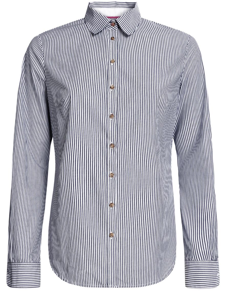 Рубашка11403205-1/33081/1079SСтильная женская рубашка oodji Ultra выполнена из натурального хлопка с добавлением полиэстера. Приталенная модель с отложным воротником и длинными рукавами застегивается на пуговицы по всей длине. Манжеты рукавов оснащены застежками-пуговицами. Оформлена рубашка стильным принтом в полоску.
