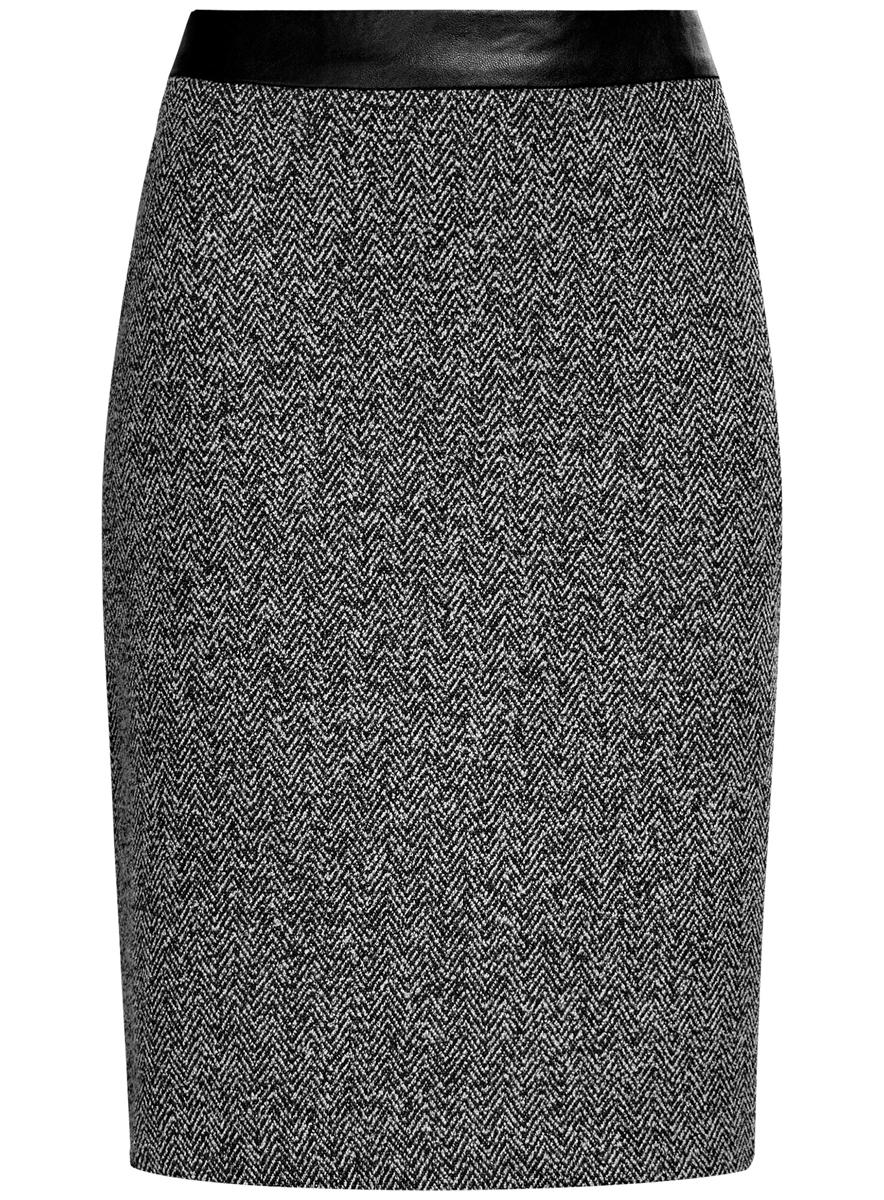 Юбка24101042-3/46082/2912JЮбка oodji Collection выполнена из полиэстера с добавлением вискозы. Юбка-карандаш средней длины застегивается на застежку-молнию на спинке. Модель оформлена узором-елочкой.